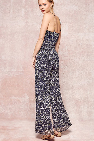 Promesa Floral Lace Up Jumpsuit