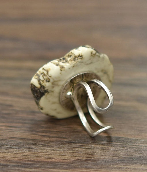 White Turquoise Slab Ring