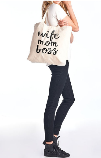 Wife Mom Boss Shopping Tote