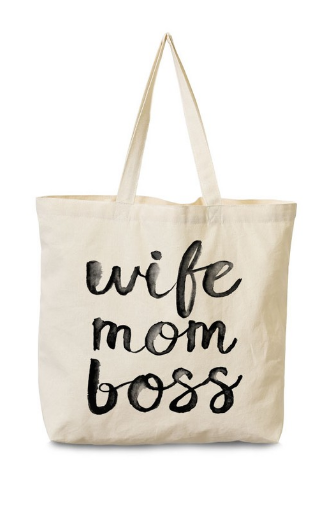 Wife Mom Boss Canvas Tote