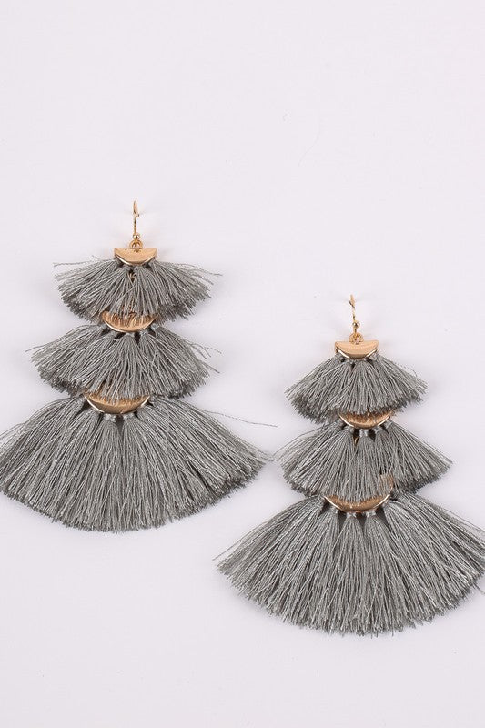 Grey Fan Fringe Earrings