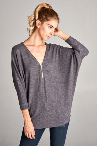 Zip It Dolman Top