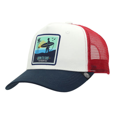 Gorra Born to Surf White red and blue