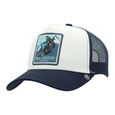 Gorra Born to Snowboard White and blue