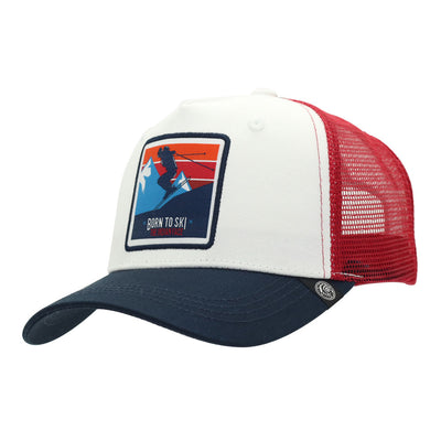 Gorra Born to Ski White red and blue