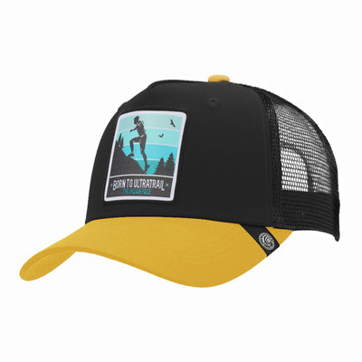 Gorras trucker Born to Ultratrail Black / Yellow para hombre y mujer
