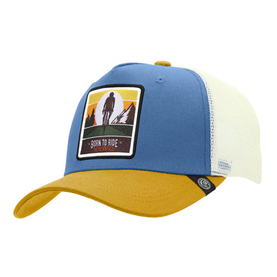 Gorras trucker Born to Ride Blue / Yellow / White para hombre y mujer