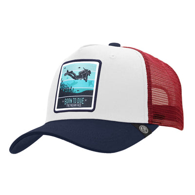 Gorras trucker Born to Scuba Dive White / Blue / Red para hombre y mujer