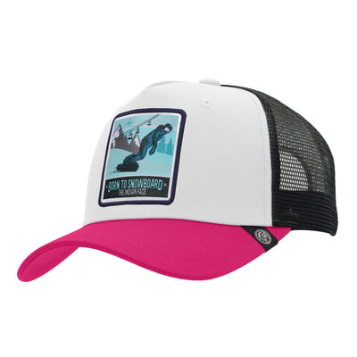 Gorras trucker Born to Snowboard White / Pink / Black para hombre y mujer