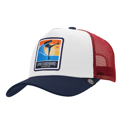 Gorras trucker Born to Bodyboard White / Blue / Red para hombre y mujer