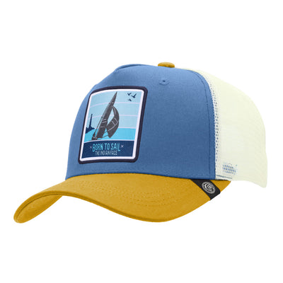 Gorras trucker Born to Sail Blue / Yellow / White para hombre y mujer
