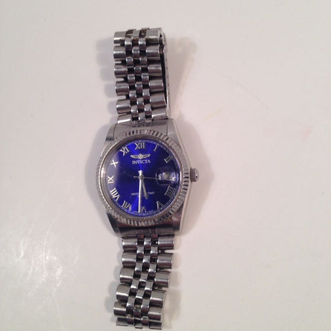 Invicta Stainless Steel Watch Blue Face Quartz 50M Water Resistant Vintage Find