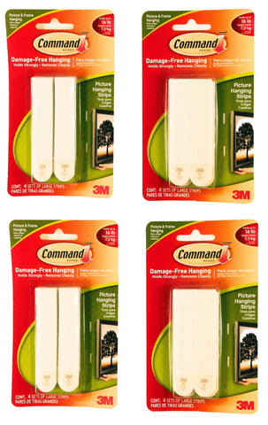 (LOT OF 4) Command Strips - Total of 16 Sets of 16 Lb Picture Frame Hangers