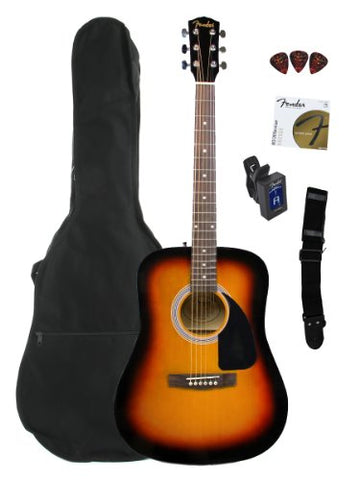 Fender FA-100 Limited Edition Dreadnought Acoustic Guitar Pack with Gig Bag & Accessories - Sunburst