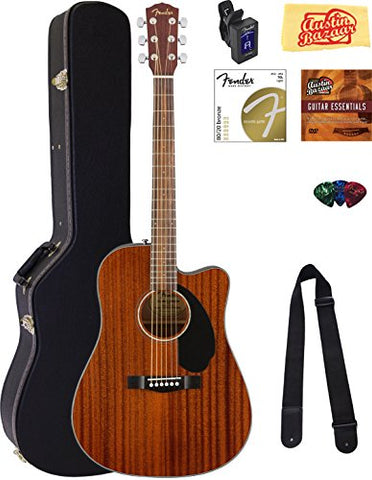 Fender CD-60SCE Dreadnought Acoustic-Electric Guitar with Hard Case & Accessories