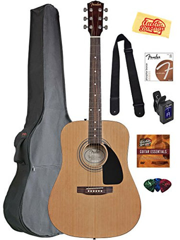 Fender Acoustic Guitar Bundle with Gig Bag & Accessories