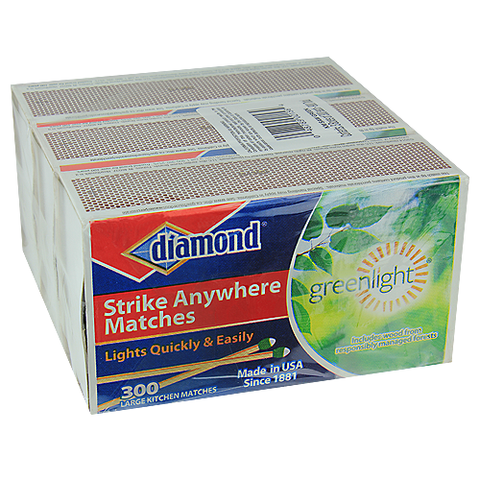 "Diamond Strike Anywhere ""Greenlight"" Matches - 3 Boxes of 300 - 900 Matches"