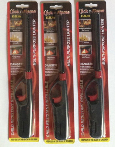 Click-n-Flame Refillable Long-Reach Butane Lighters (LOT OF 3 LIGHTERS)