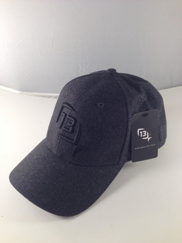 New 13 Fishing Baseball Cap in Black with Black Logo L/XL Size