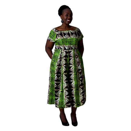 Women Dress Green Off shoulder print dress by SWAIV on RONKOS