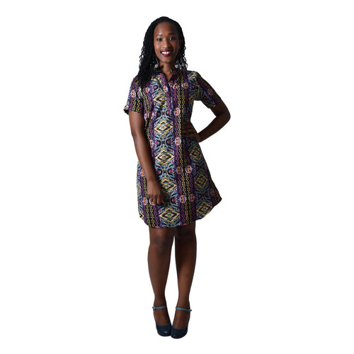 Women Dress Printed Cotton Shirt Dress with Short sleeves by SWAIV on RONKOS