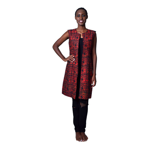 Women Dress Red Irebe Blazer by Uzi Collections on RONKOS