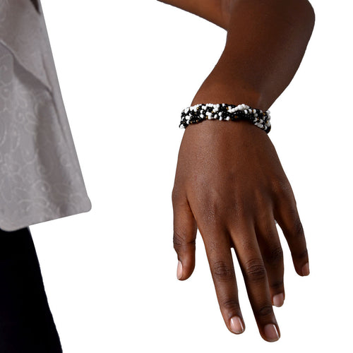 A+A Black & White Beaded Bracelet