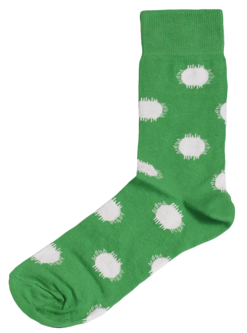 Men's Big Dots (Green and White) Socks by SLAY Africa on RONKOS