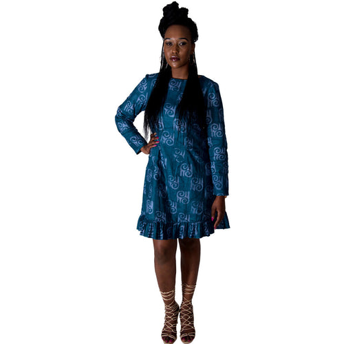 Women Dress Frilled Long Sleeved Dress by TMK on RONKOS