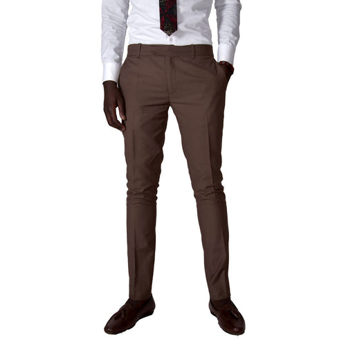 Men Trousers Slim Fit Trousers - Brown by SILAS on RONKOS