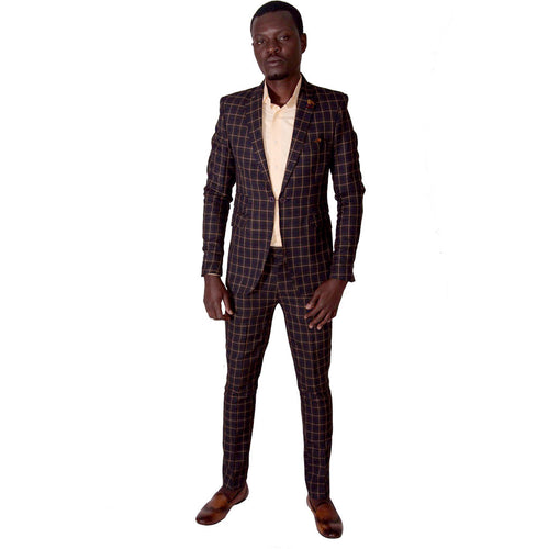Men's Suits Slim Fit Chequered Suit - Chocolate/ Orange by SILAS on RONKOS