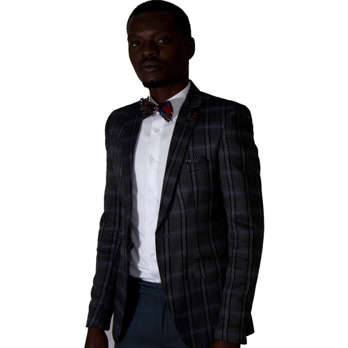 Men Suits Slim Fit Chequered Jacket - Grey by SILAS on RONKOS