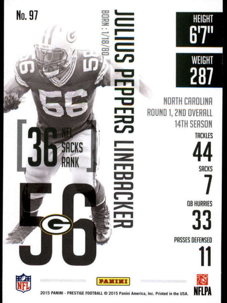2015 Panini Prestige #97 Julius Peppers NM-MT+ cb
