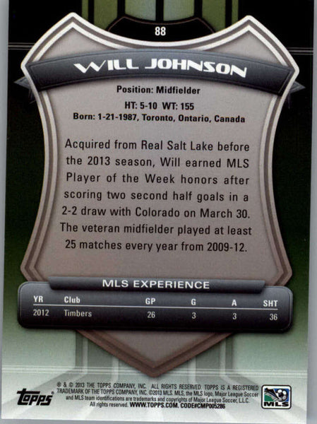 2013 Topps MLS #88 Will Johnson NM-MT+ cd