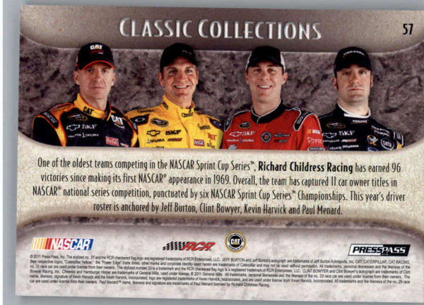 2011 Press Pass Showcase #57 Paul Menard/Kevin Harvick/Jeff Burton/Clint Bowyer CC NM-MT+ ch