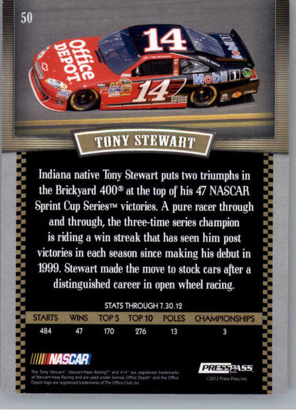 2012 Press Pass Legends Red #50 Tony Stewart NM-MT+ ch /99