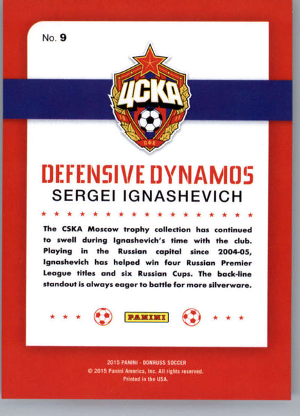 2015 Donruss Defensive Dynamos Bronze Press Proof #9 Sergei Ignashevich MINT /299 CSKA Moscow