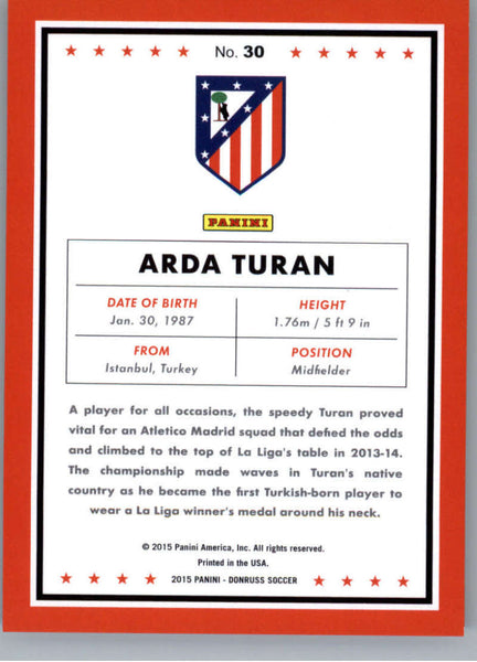 2015 Donruss Bronze Press Proof #30 Arda Turan MINT /299 Atletico Madrid