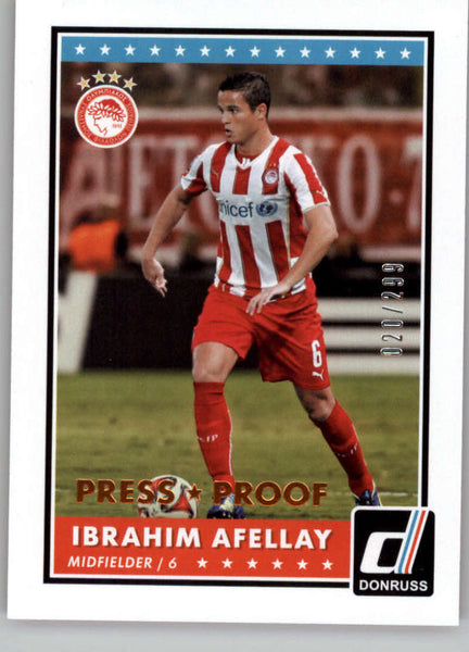 2015 Donruss Bronze Press Proof #78 Ibrahim Afellay MINT /299 Olympiacos FC