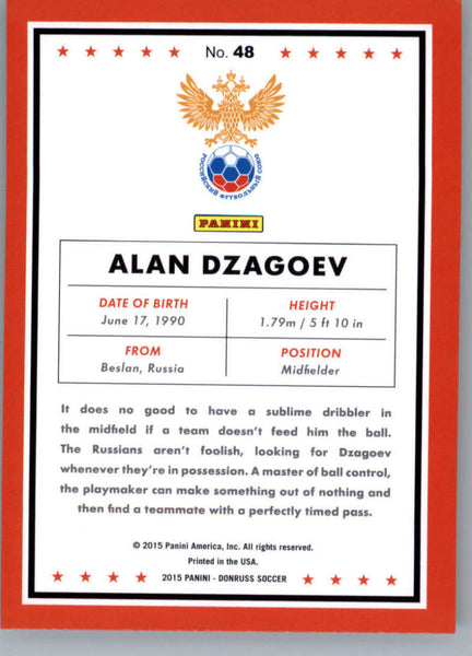 2015 Donruss National Team Photo Variations #48 Alan Dzagoev MINT Russia