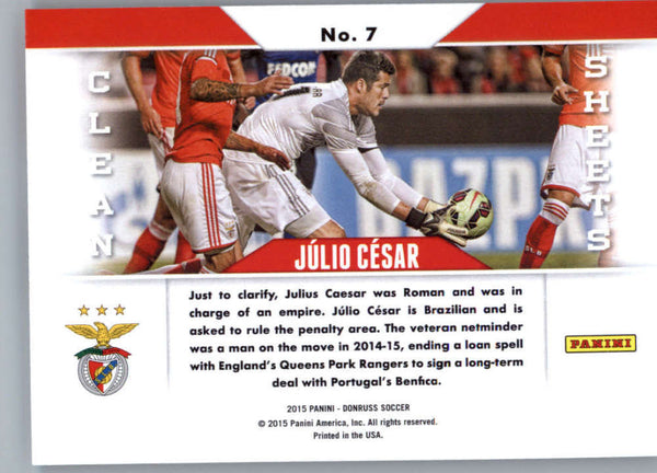 2015 Donruss Clean Sheets #7 Julio Cesar MINT Benfica