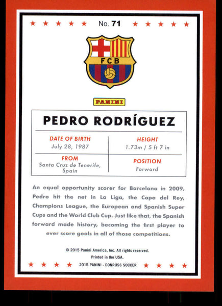 2015 Donruss Bronze Press Proof #71 Pedro Rodriguez MINT /299 FC Barcelona