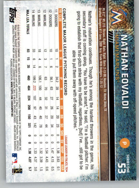 2015 Topps #53 Nathan Eovaldi NM-MT+ CE