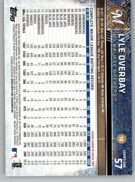 2015 Topps #57 Lyle Overbay NM-MT+ CE