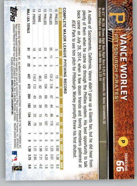 2015 Topps #66 Vance Worley NM-MT+ CE