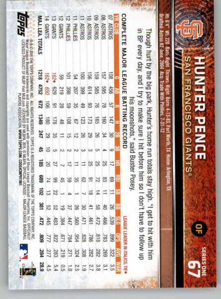 2015 Topps #67 Hunter Pence NM-MT+ CE