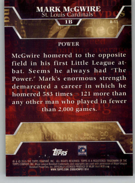 2015 Topps Archetypes #A-11 Mark McGwire NM-MT+ CE