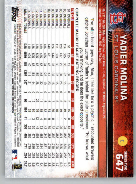 2015 Topps #647 Yadier Molina NM-MT+ CE