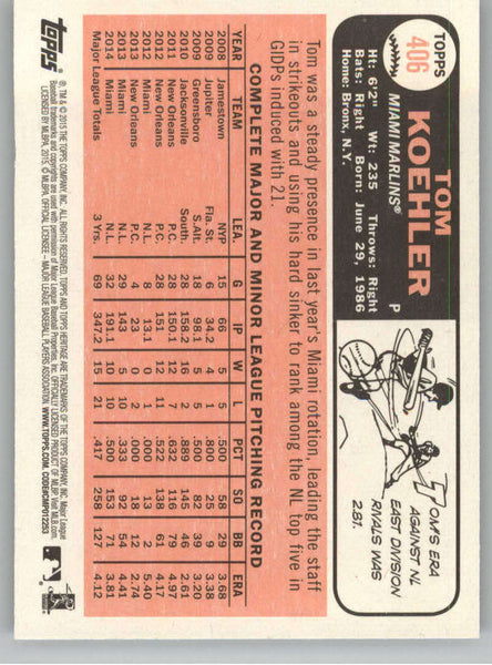 2015 Topps Heritage #406 Tom Koehler NM-MT+ CE