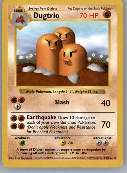 Dugtrio Pokemon Original Base Set Trading Card 19/102 SHADOWLESS Rare NM to Mint